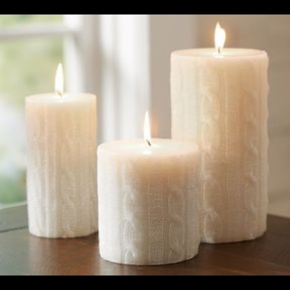 Pottery Barn Beige Candles Cable Knit